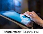 Hand Presses On Screen Digital...