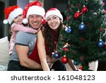 the family dresses up christmas ... | Shutterstock . vector #161048123