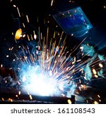 welders in action with bright... | Shutterstock . vector #161108543