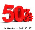 50  off 3d word isolated | Shutterstock . vector #161135117