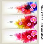 set of flowers element and... | Shutterstock .eps vector #161157983