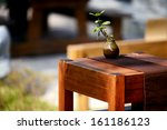 a potted plant on the tea table
