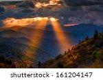 Stock photo colorful autumn sunrise over the smoky mountains 161204147