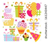 birthday element set | Shutterstock .eps vector #161243447