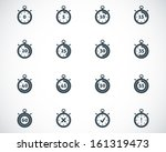 vector black stopwatch icons set | Shutterstock .eps vector #161319473