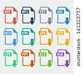 Vector file extensions icons set: pdf, mp3, txt, doc, docx, html, jpg, zip, csv, ppt, xls, rar