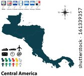 Vector of political map of Central America set with buttons flags on white background