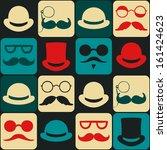 mustache faces seamless pattern | Shutterstock .eps vector #161424623