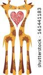 giraffe love hear valentines... | Shutterstock .eps vector #161441183