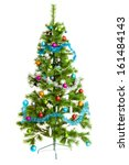christmas tree isolated on white | Shutterstock . vector #161484143