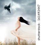 beautiful young woman waving... | Shutterstock . vector #161492447