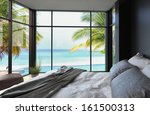 Tropical Bedroom Interior With...