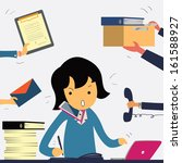 very busy business woman... | Shutterstock .eps vector #161588927
