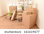 stack of cartons near stairs ... | Shutterstock . vector #161619677