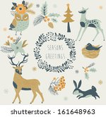 animal,art,background,bird,branch,cartoon,character,christmas,collection,colorful,cute,december,deer,design,element