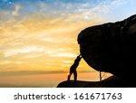 worker  businessman pushing...   Shutterstock . vector #161671763