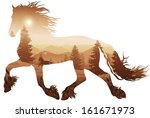 Silhouette Of A Running Horse....