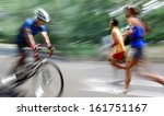 cyclist in traffic on the city... | Shutterstock . vector #161751167