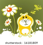 cheerful hamster and flowers ... | Shutterstock . vector #16181809
