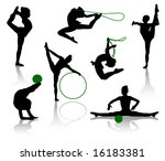 silhouettes of gymnasts with... | Shutterstock .eps vector #16183381