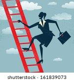 abstract businesswoman climbs... | Shutterstock .eps vector #161839073