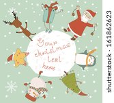 christmas card with cartoon... | Shutterstock .eps vector #161862623