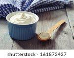 greek yogurt in a ceramic bowl... | Shutterstock . vector #161872427