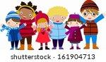 group of children winter boys... | Shutterstock .eps vector #161904713