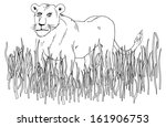 Lioness in Africa - stock vector