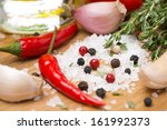 herbs  spices and salt on a... | Shutterstock . vector #161992373