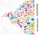 social network background with... | Shutterstock .eps vector #162039083