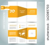 3d dimensional design brochure template folder leaflet yellow element white background