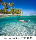 woman swimming underwater in...   Shutterstock . vector #162124853