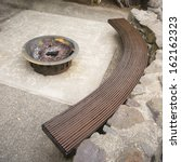 sitting area patio wood bench... | Shutterstock . vector #162162323