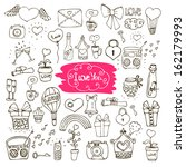 set of love doodle icons vector ... | Shutterstock .eps vector #162179993