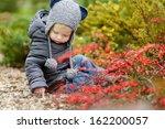 adorable toddler girl portrait... | Shutterstock . vector #162200057