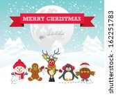 cute christmas characters... | Shutterstock .eps vector #162251783
