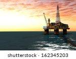 platform in the ocean for oil... | Shutterstock . vector #162345203