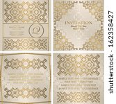 vector set of cards with a gold ...   Shutterstock .eps vector #162358427
