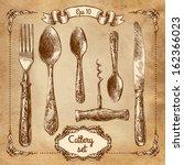 retro transparent silverware... | Shutterstock .eps vector #162366023
