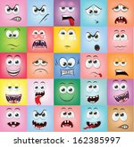 cartoon faces with emotions  | Shutterstock .eps vector #162385997