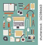 Vector set of equipment for design. Gadgets for creation. Flat style design - vector illustration