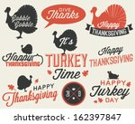 Set of Thanksgiving Vector Calligraphic Illustrations in Vintage style