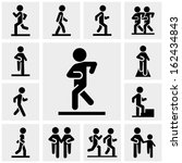 Walking Vector Icons Set On...