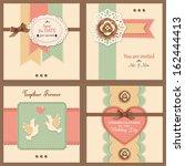 set of four vintage wedding...   Shutterstock .eps vector #162444413