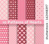 10 Heart Shape Vector Seamless...