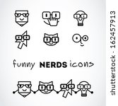 nerds icon set with funny faces ... | Shutterstock .eps vector #162457913