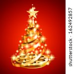 golden film strip christmas... | Shutterstock .eps vector #162492857