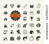 Web icon set - pet, vet, pet shop, types of pets. - stock vector