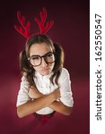 Angry Nerdy Woman In Christmas...